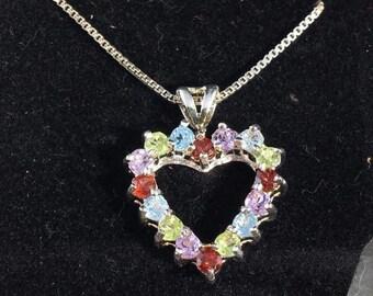Vintage Sterling Silver Open Heart Multi Gemstone Necklace