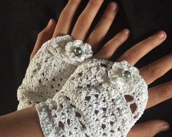 Crochet Fingerless Tea gloves with glass bead closure and detail; wedding, formal, summer