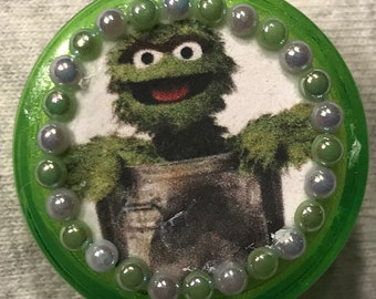 Oscar the Grouch Sesame Street Inspired Retractable Badge/ID Holder