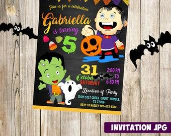 Kids Hallowen Invitations, Birthday Party Halloween Invites, Halloween Invitations, Kids Birthday Party, Kids Party Invitation