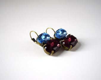 Blue and Purple Crystal Earrings, Purple and Blue Rhinestone Jewelry, Georgian Paste, 18th Century Earrings, Historical Jewelry Gothic Jewel