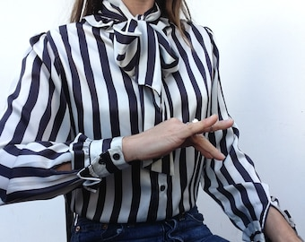 Georges Rech | Vintage | 1980s | Blouse | Stripes | Black/white | Bow tie shirt | Ruffles | Puff sleeves