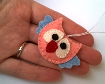 Mini felt owl ornament handmande tiny Christmas Housewarming home decor Baby shower nursery decoration eco friendly