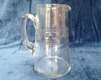 Lovely antique Edwardian etched glass jug / pitcher with unusual Greek key pattern with tramlines