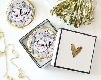 Bridesmaid Mirror Compacts Personalized Bridesmaid Gifts Mother of the Bride Compact Mirror Personalized Gifts for Friends (EB3166RSG)
