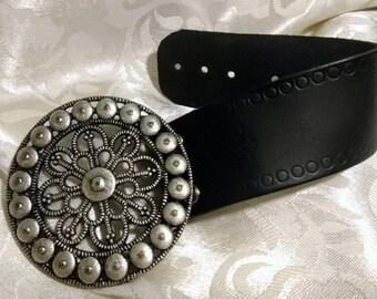 Leather Cuff Bracelet Aliuminium flower Boho Cuff Indie Chunky BraceletCowgirl Western Jewelry Bohemian Chic Bracelet