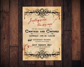 Halloween Invitation, Vintage Gothic Party Invite