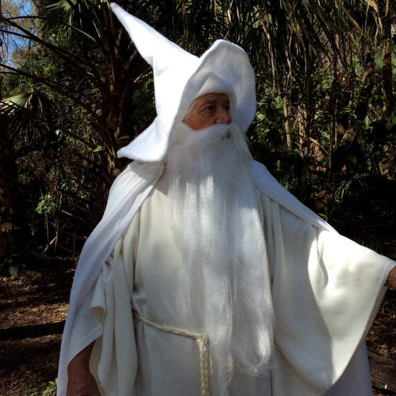 Robe And Wizard Hat: Gandalf The White Or Gray Costume With Flowing Hooded Cape
