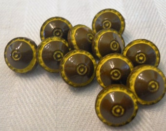 Vintage Opaque Brown Diminutive Glass Buttons ~ Set of 11 ~ 5/16 inch