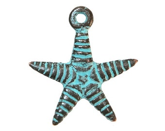 2 Mykonos Starfish 1 inch ( 24 mm ) Metal with Green Copper Patina  Pendants