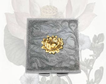 Lotus Flower Metal Pill Box Inlaid in Hand Painted Silver Swirl Enamel Zen Inspired Square Medicine Case with Personalized Options