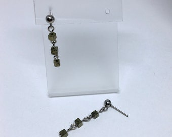 Earrings with raw pyrite stone