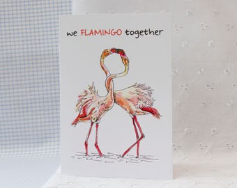We Flamingo Together: Illustrated Valentines Card
