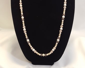 Pink and White; Faceted, Glass, and Pearl Necklace.