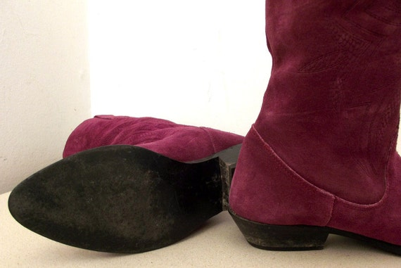 Purple 5 7 size to Fashion Awesome M 8 M Western heels low Suede boots with vdxqxT8z