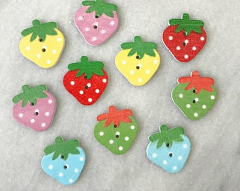 Wooden Strawberry Buttons - Set of 10
