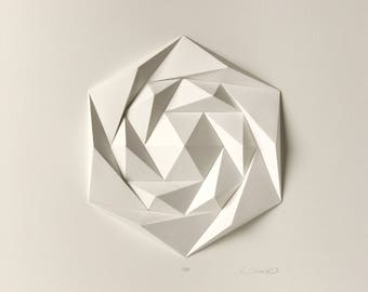 3D Wall Sculpture-Minimalist Geometric Origami Art Hanging-White Paper Mosaic Relief-Polygonal Modern Abstract-Gift for Architect-Decor