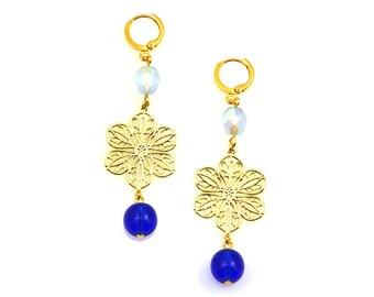 NEW Blue Statement Earrings, Statement Earrings, Blue Earrings, Long Earrings, Flower Earrings, Statement Jewelry, Floral Jewelry, Ice Blue