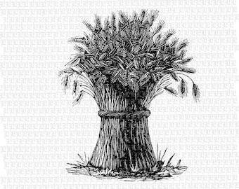 Antique Image Wheat Stack Haystack Vintage Clip Art Illustrations Printable High Quality Digital Collage Sheet 1784