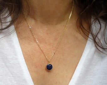 14k gold fill Sapphire necklace, Gold sapphire necklace, Gemstone necklace, Blue stone necklace, September birthstone necklace