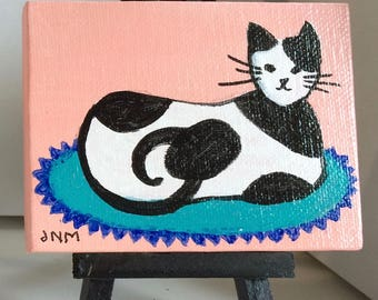 Mini Painting of Cat on Stretched Canvas with Easel. Cat Painting, Black and White Cat, Cat Art, Tiny Art, Miniature Painting, Acrylic