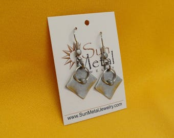 It's hip to be square antique silver earrings (Style #223)