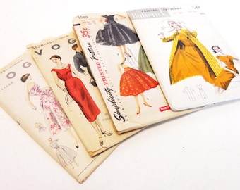 Vintage Patterns a lot of 4 mostly uncut in original packaging 1950 1960 skirt dress jacket Simplicity Vogue and Butterwick patterns