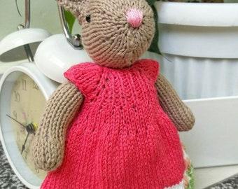 hand knitted bunny girl toy stuffed animal birthday gift
