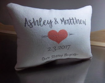 Name date pillow custom Wedding throw pillow personalized 2nd anniversary gift cotton cushion wedding gift custom newlywed quote pillows