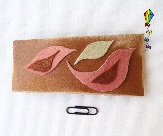 Large Hair Clip made from Reclaimed Leather - Birds & Leaves Design