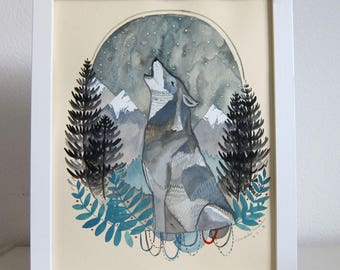 Art - Original Illustration - Wolf Art - Wolf Painting - Original Art - Original Painting - Wolf illustration - Hand Painted - Grey Wolf