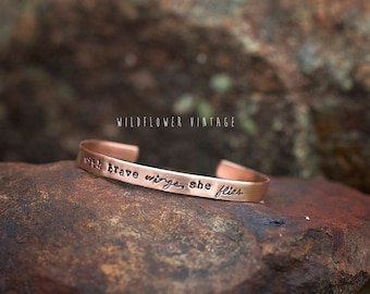 With Brave Wings She Flies Copper Cuff Bracelet | Hand Stamped Inspirational Jewelry Gift