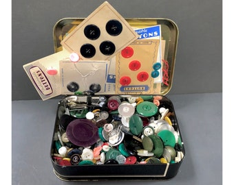 Box of Buttons, Vintage Collection of Buttons, Collectible Tin, Collectable Tins, Sewing, Supplies, Notions, Buttons, Crafts, Dress Making