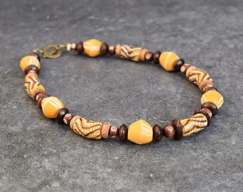 African Necklace, Tribal Jewelry, Statement Necklace, African Jewelry Tribal Jewelry, Ceramic Wood & Recycled Glass Beads, Ethnic Jewelry
