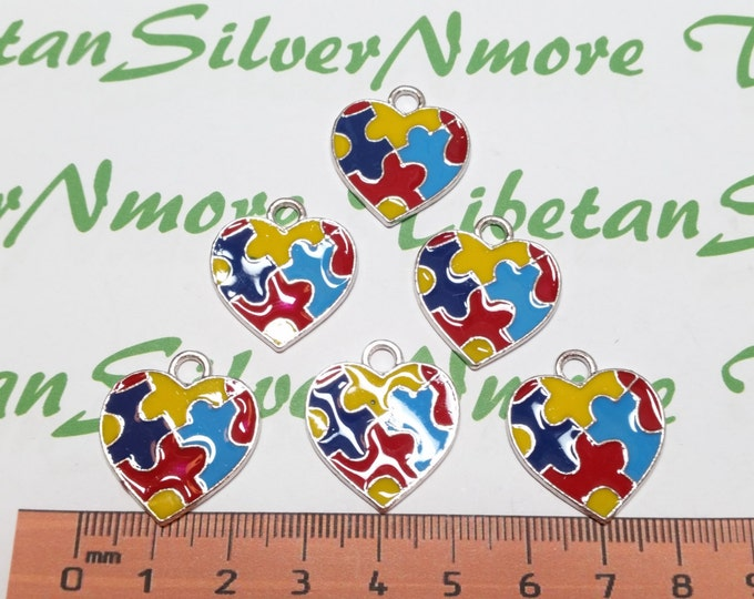 6 pcs per pack 25x22mm Enamel Colorful Puzzle Heart charm for Autism Awareness Antique Silver Finish Lead Free Pewter