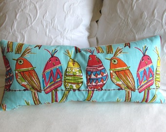 PERCHED BIRDIES lumbar accent bolster pillow 12x26 includes insert