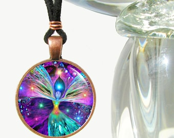 """Chakra Necklace, Unique Rainbow Jewelry, Angel Pendant """"Bubbles of Clearing"""""""