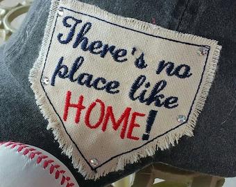 Home Plate Raggy applique design patch baseball softball cap