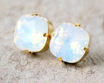 Winter White Opal | Swarovski | Crystal Earrings | Opal Jewelry | Square Cushion | Gift For Her | Opal Earrings | White Opal Jewelry | Gold