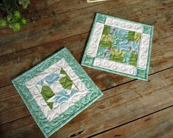 Large Hot Mats Blue White Quilted Potholders Turquoise & Green Trivets, Summer Hot Pads, Kitchen Gift for Home, Homemaker Gift for Cook