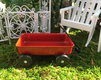 Miniature Red Wagon, Metal Wagon, Larger Size, Style 4197, Dollhouse Miniature, 1:12 Scale, Fairy Garden Accessory, Miniature Garden