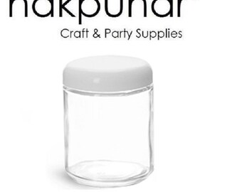 2 oz Straight Sided Glass Jar with White/Black Plastic Dome Lid