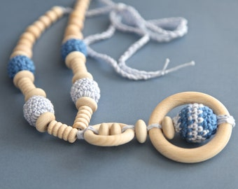 Organic cotton, light blue gradient nursing necklace with. Mammy and baby teething necklace. Girls crochet necklace.