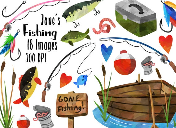 Watercolor Fishing Clipart Fishing Items Download Instant