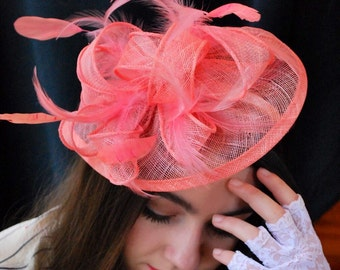Coral Fascinator, Tea Party Hat, Church Hat, Derby Hat, Fancy Hat, Pink Hat, Wedding Hat, British Hat, Coral Hat