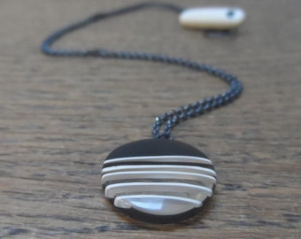 Resin pendant - mini black pendant with nude stripes