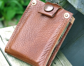 Mens Copper Brown Leather Snap Wallet, Slim Bifold Money Clip