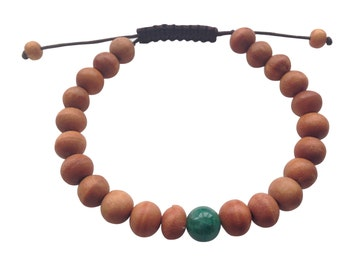 Wood Bead Wrist Mala Bracelet with Green Jade Spacer for Meditation