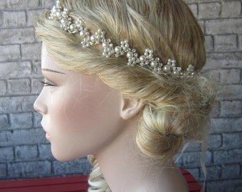 Pearl Bridal headband, wedding headband, wedding headpiece, rhinestones headband, bridal accessories