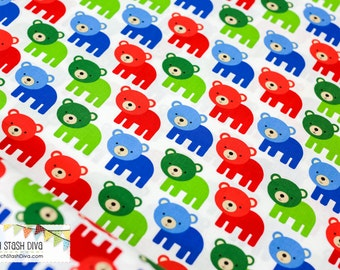 Woodland Pals - Red & Blue Bears (primary) by Robert Kaufman
